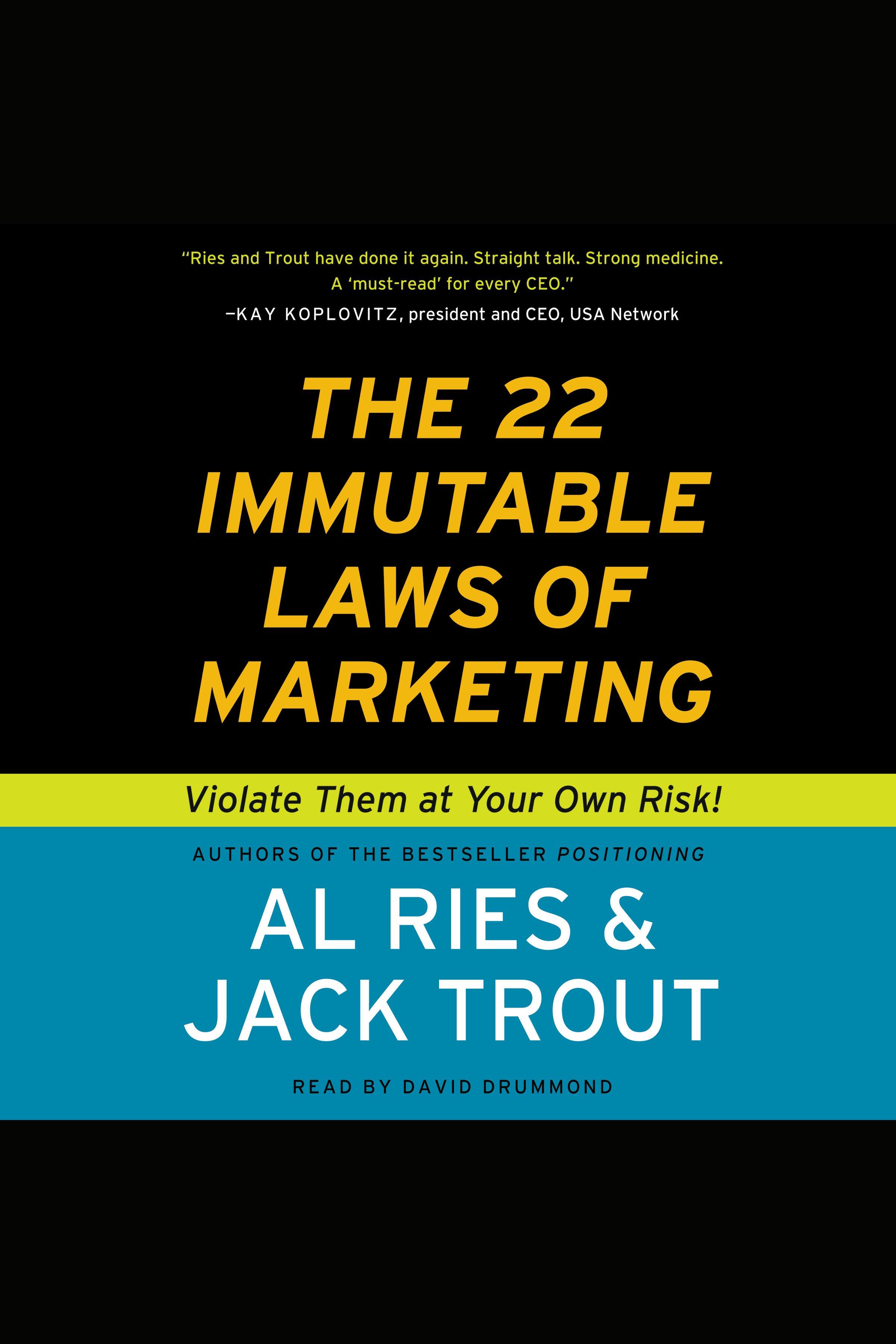 Esta es la portada del audiolibro 22 Immutable Laws of Marketing, The