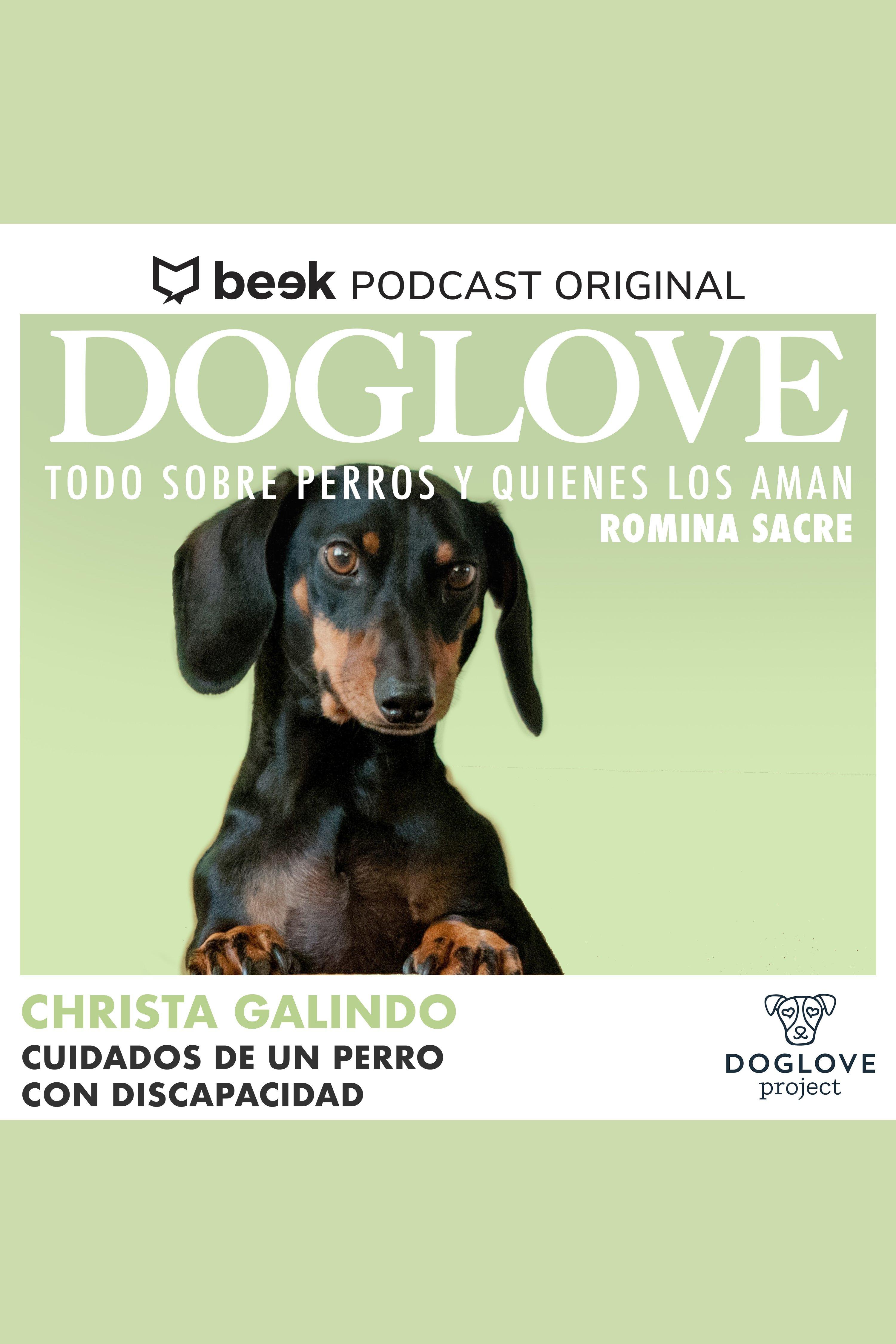 Esta es la portada del audiolibro Cuidados de un perro con discapacidad, con Christa Galindo
